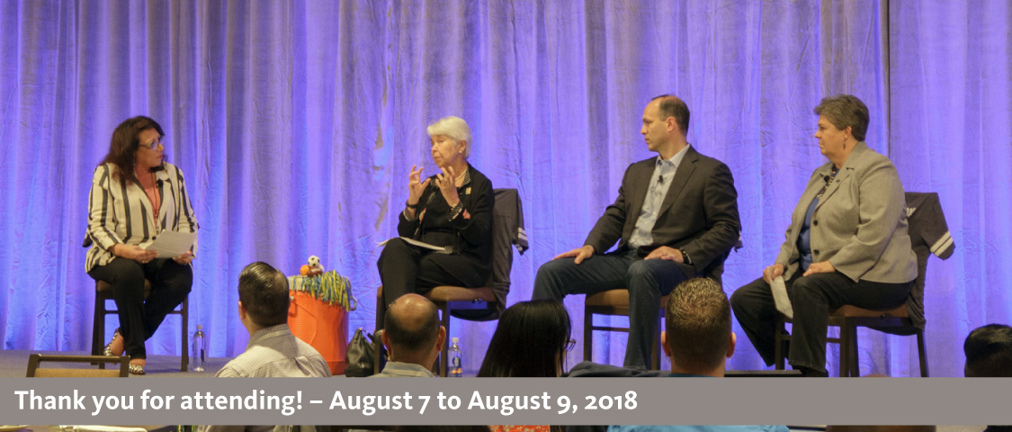 2018 People Management Conference photo of the leadership huddle featuring Excutive Director of Systemwide Talent Management and conference moderator Donna Salvo, UC Berkeley Chancellor Carol Christ, Senior Vice President and Chief Compliance and Audit Officer Alexander Bustamante, and Vice President of UC Agricultural and Natural Resources Glenda Humiston - thank you for attending! - August 7 to August 9, 2018