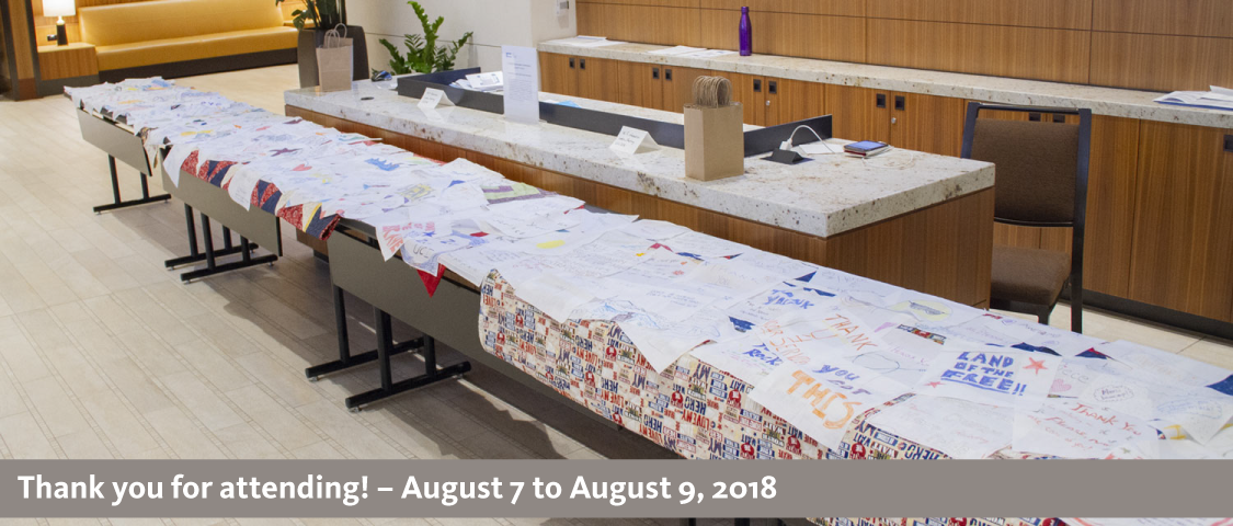 2018 People Management Conference photo of Operation Mend quilt - thank you for attending! - August 7 to August 9, 2018